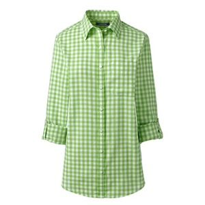 Lands End Verdant Gingham Roll-Up Sleeve Shirt M